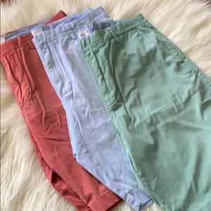 "J Crew men's cotton shorts 10.5"" bundle of 3"